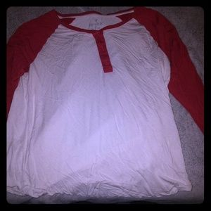 AEO Long sleeve white and red top XXL